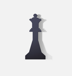 Paper clipped sticker chess figure queen vector