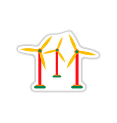 Paper sticker on white background wind mill vector