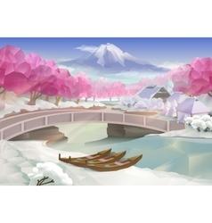 Pink grove landscape vector image