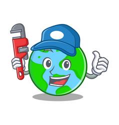 Plumber world globe character cartoon vector