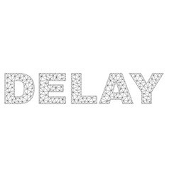 Polygonal wire frame delay text label vector