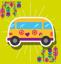 Retro van car with stickers and feathers free vector