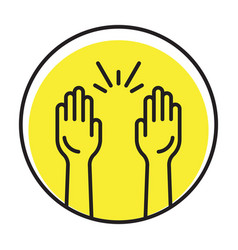 Rounded raise hands flat icon for apps vector