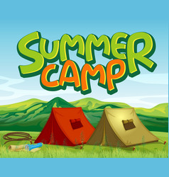 scene background design with word summer camp vector image