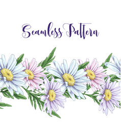 seamless border with white roses daisies vector image