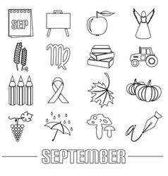 September month theme set of outline icons eps10 vector