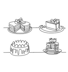 set continuous line drawing of big cake vector image