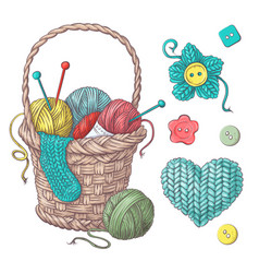 Set for handmade basket with balls of yarn vector