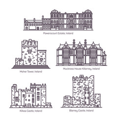 Set isolated ireland landmarks in thin line vector