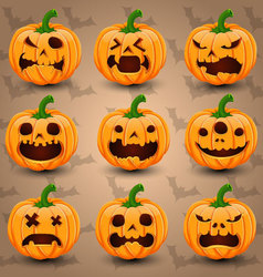 Set of 9 Halloween Pumpkins vector image