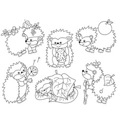 set of cute cartoon hedgehogs vector image