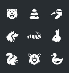 Set of forest animals icons vector