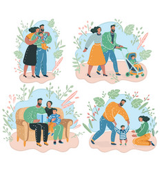 set of happy family vector image