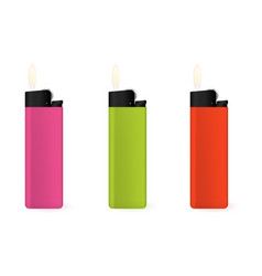set of multi-colored lighters vector image