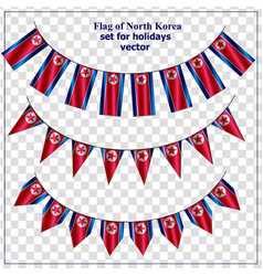 Set with flags north korea with folds bright vector