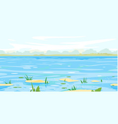 Spring landscape background with flood waters vector