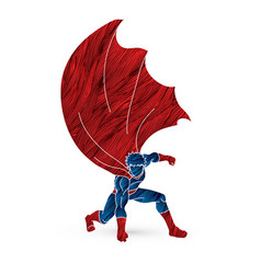 Strong man superhero landing powerful action vector