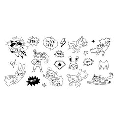 superhero cute hand drawn animals cat dog panda vector image