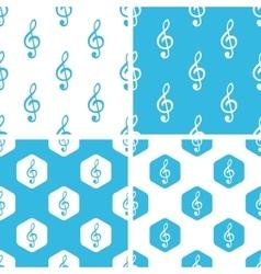 Treble clef patterns set vector