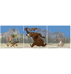 triptych cartoon bear chasing a hunter vector image vector image
