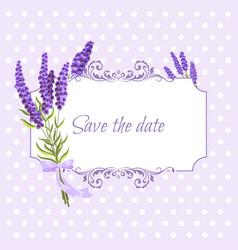 Vintage floral frame with lavender in provence vector