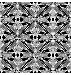 vintage line art tracery greek seamless pattern vector image
