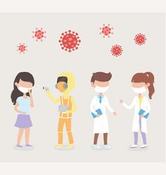 Virus covid 19 quarantine sick woman staff doctor vector