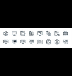 Web development line icons linear set quality vector