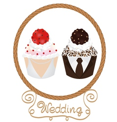 wedding cupcake vector image