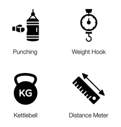 weightlifting tools glyph pack vector image