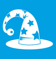 Wizards hat icon white vector