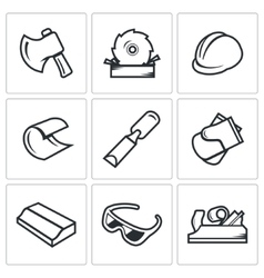 Woodworking icons vector