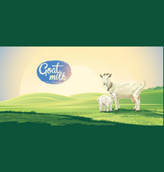 country landscape with goat and kid in the vector image vector image