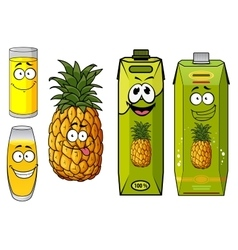 Pineapple juice packs fruit and glasses vector image vector image