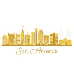 san antonio city skyline golden silhouette vector image