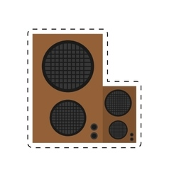 Speaker baffle audio music dotted line vector