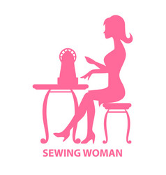 woman sitting with sewing machine vector image vector image