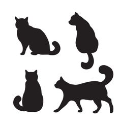 Cats set silhouette vector image