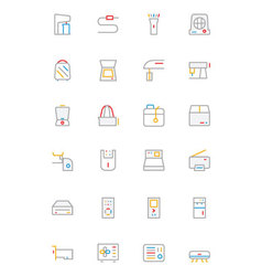 Electronics and devices colored outline icons 4 vector