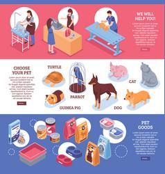 isometric pet shop horizontal banner set vector image