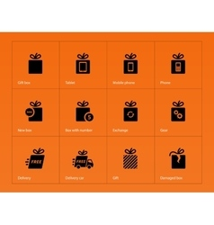 Presents box icons on orange background vector image vector image