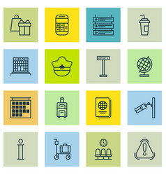 Set of 16 transportation icons includes vector