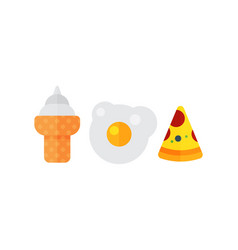 set of colorful cartoon fast food eggs icon vector image vector image
