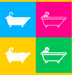 bathtub sign four styles of icon on vector image