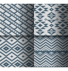 Collection of monochrome seamless knitted patterns vector image vector image