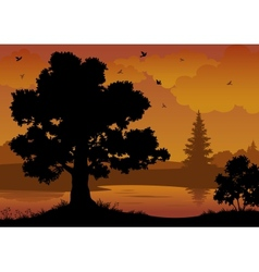 Landscape trees river and birds vector image vector image