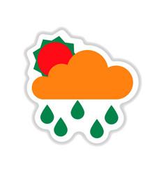 Paper sticker on white background sun clouds rain vector