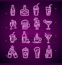 bar neon signs thin line icon set vector image vector image