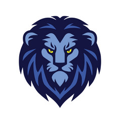 blue lion head logo design vector image vector image