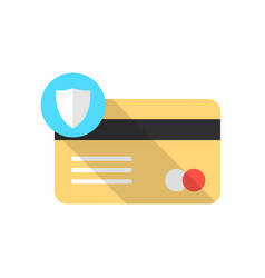 golden credit card with blue shield icon and long vector image
